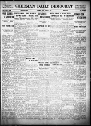 Primary view of object titled 'Sherman Daily Democrat (Sherman, Tex.), Vol. THIRTY-FOURTH YEAR, Ed. 1 Wednesday, February 3, 1915'.