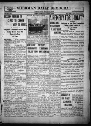 Primary view of object titled 'Sherman Daily Democrat (Sherman, Tex.), Vol. THIRTY-SIXTH YEAR, Ed. 1 Saturday, May 5, 1917'.