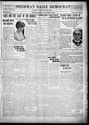 Primary view of object titled 'Sherman Daily Democrat (Sherman, Tex.), Vol. THIRTY-EITHTH YEAR, Ed. 1 Wednesday, February 19, 1919'.