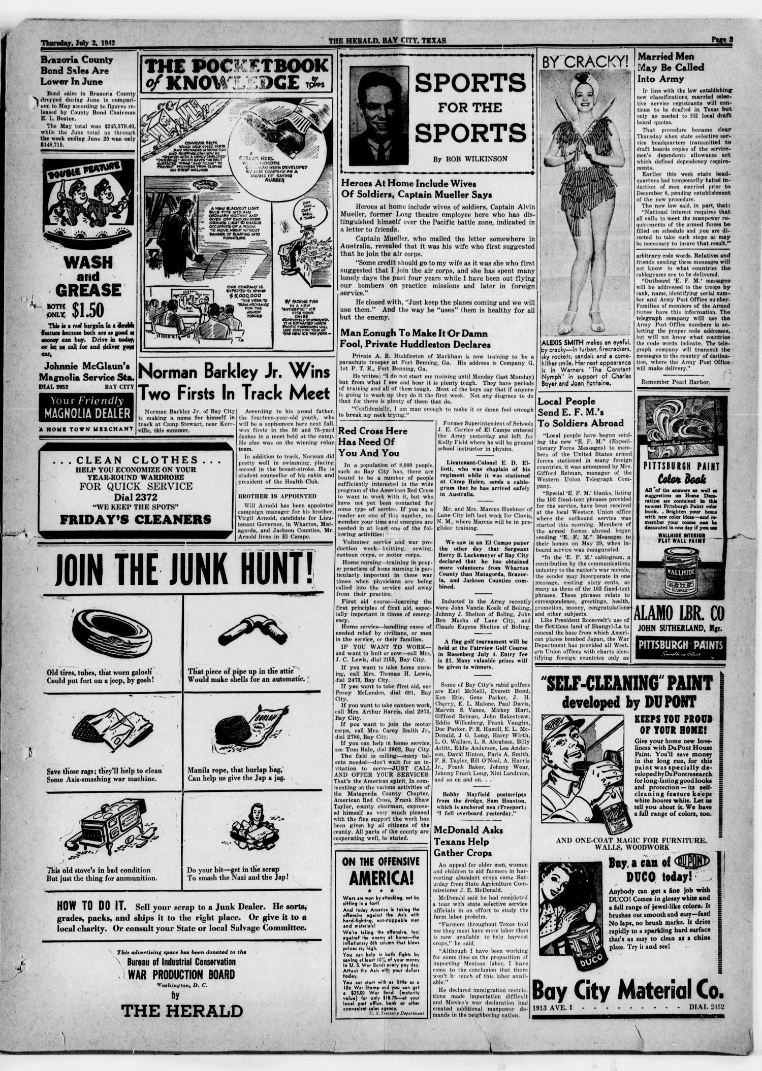 The Herald (Bay City, Tex.), Vol. 3, No. 40, Ed. 1 Thursday, July 2, 1942                                                                                                      [Sequence #]: 3 of 8