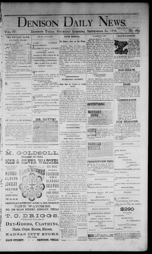 Primary view of object titled 'Denison Daily News. (Denison, Tex.), Vol. 4, No. 189, Ed. 1 Saturday, September 30, 1876'.