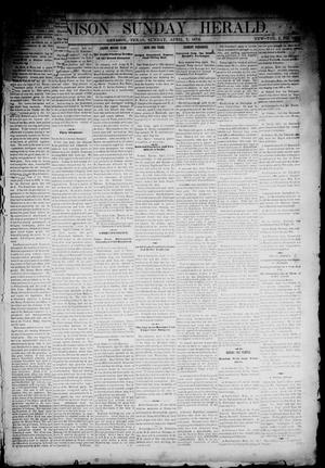 Primary view of object titled 'Denison Daily Herald. (Denison, Tex.), Vol. 1, No. 168, Ed. 1 Sunday, April 7, 1878'.