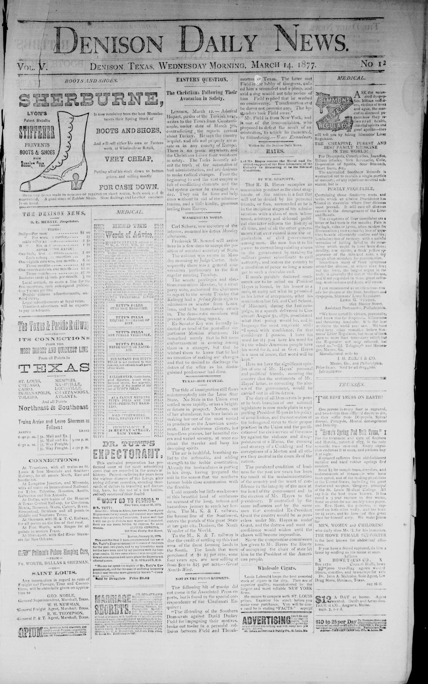 Denison Daily News. (Denison, Tex.), Vol. 5, No. 12, Ed. 1 Wednesday, March 14, 1877                                                                                                      [Sequence #]: 1 of 4