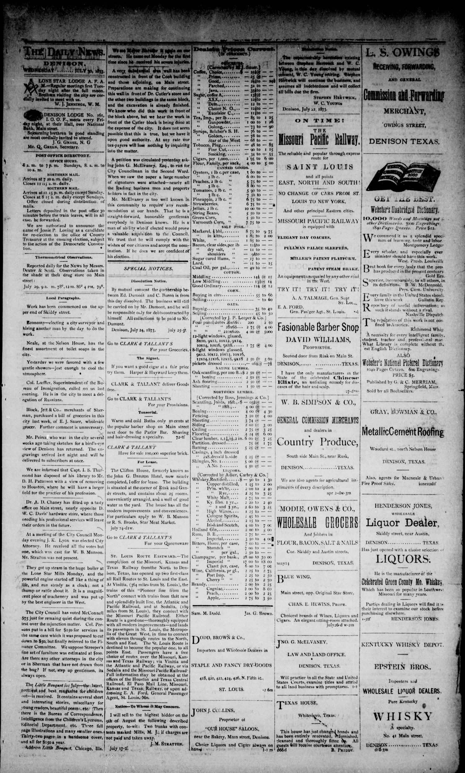 Denison Daily News. (Denison, Tex.), Vol. 1, No. 113, Ed. 1 Wednesday, July 30, 1873                                                                                                      [Sequence #]: 3 of 4