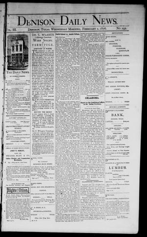 Primary view of object titled 'Denison Daily News. (Denison, Tex.), Vol. 3, No. 292, Ed. 1 Wednesday, February 2, 1876'.