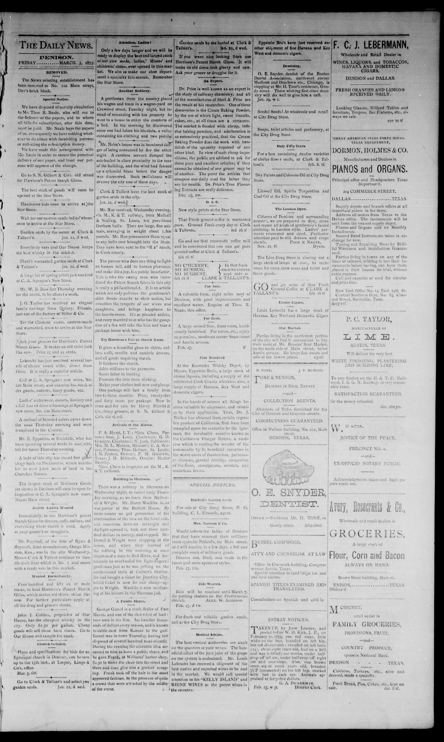 Denison Daily News. (Denison, Tex.), Vol. 3, No. 10, Ed. 1 Friday, March 5, 1875                                                                                                      [Sequence #]: 3 of 4