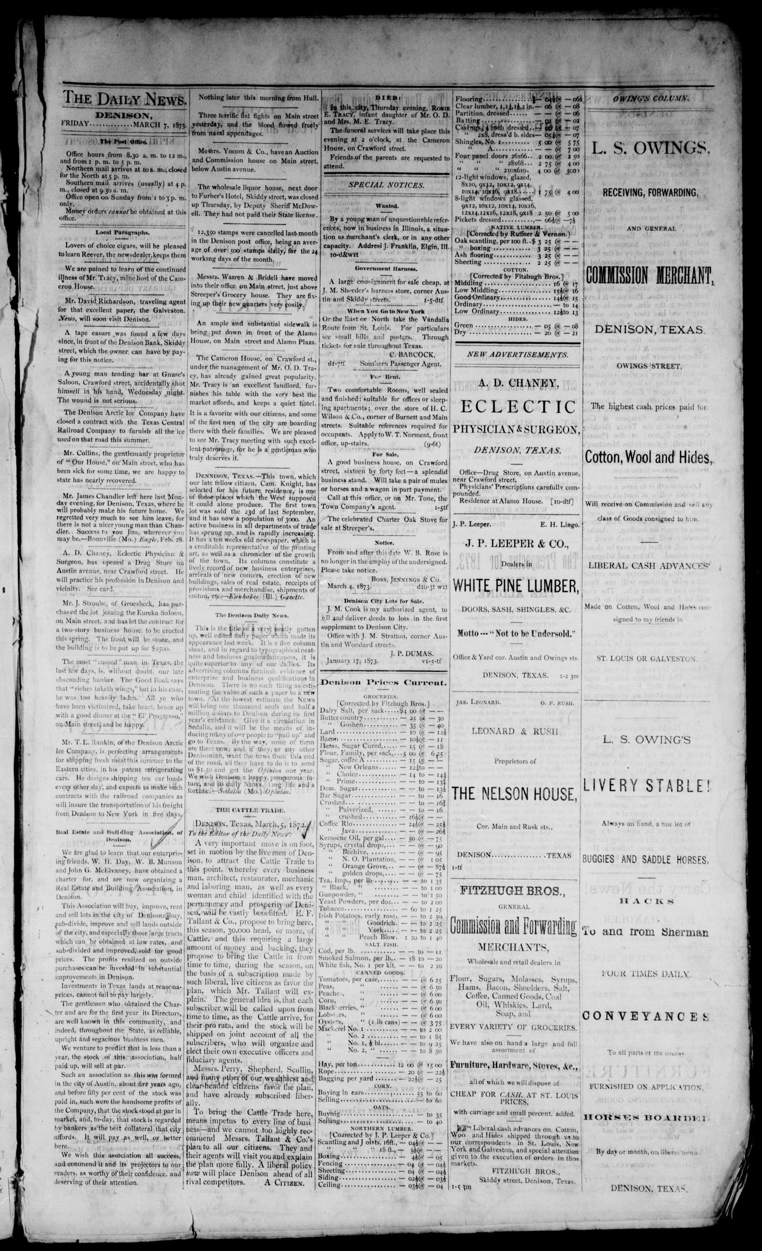 Denison Daily News. (Denison, Tex.), Vol. 1, No. 10, Ed. 1 Friday, March 7, 1873                                                                                                      [Sequence #]: 3 of 4