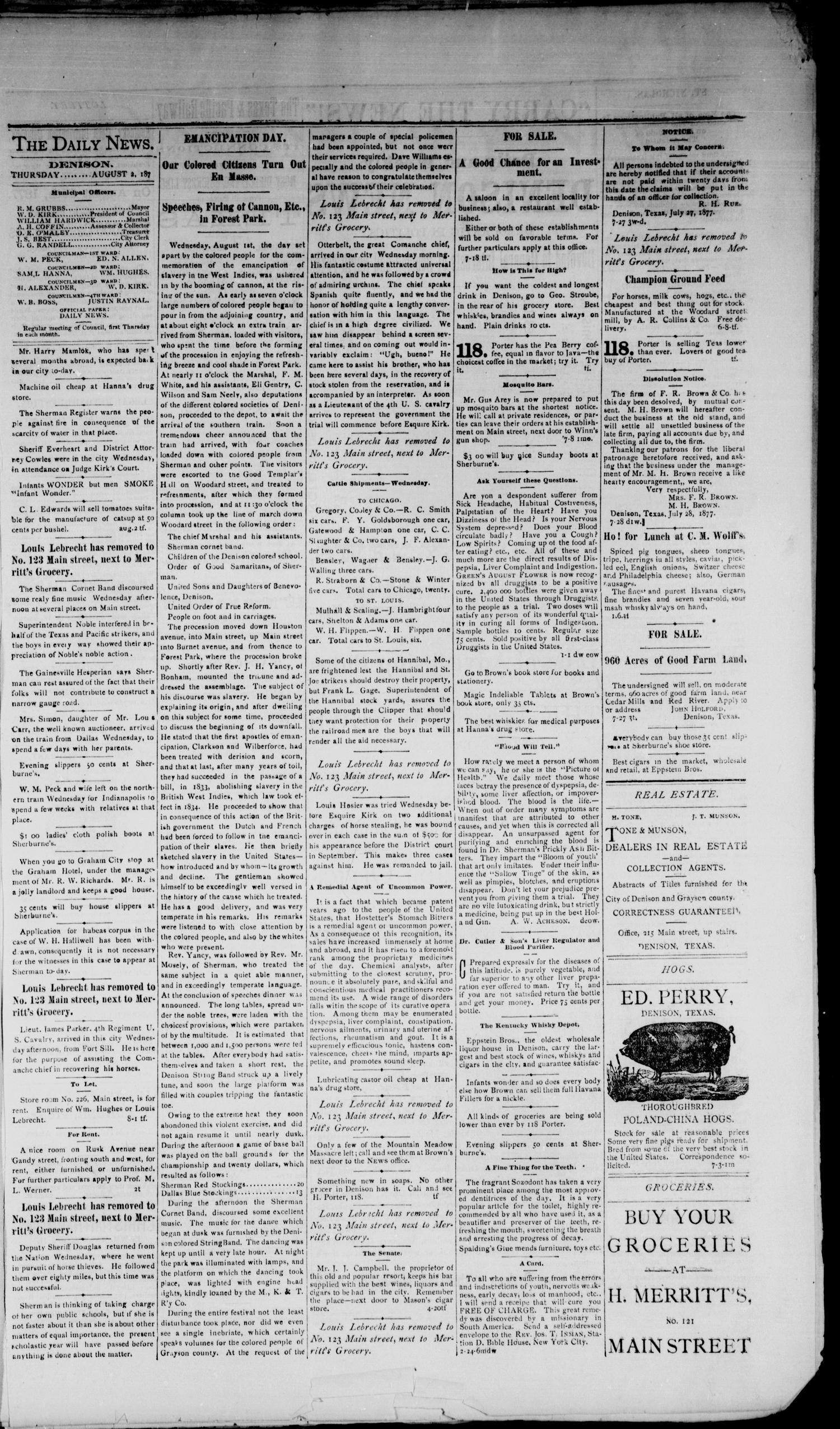 Denison Daily News. (Denison, Tex.), Vol. 5, No. 150, Ed. 1 Thursday, August 2, 1877                                                                                                      [Sequence #]: 3 of 4