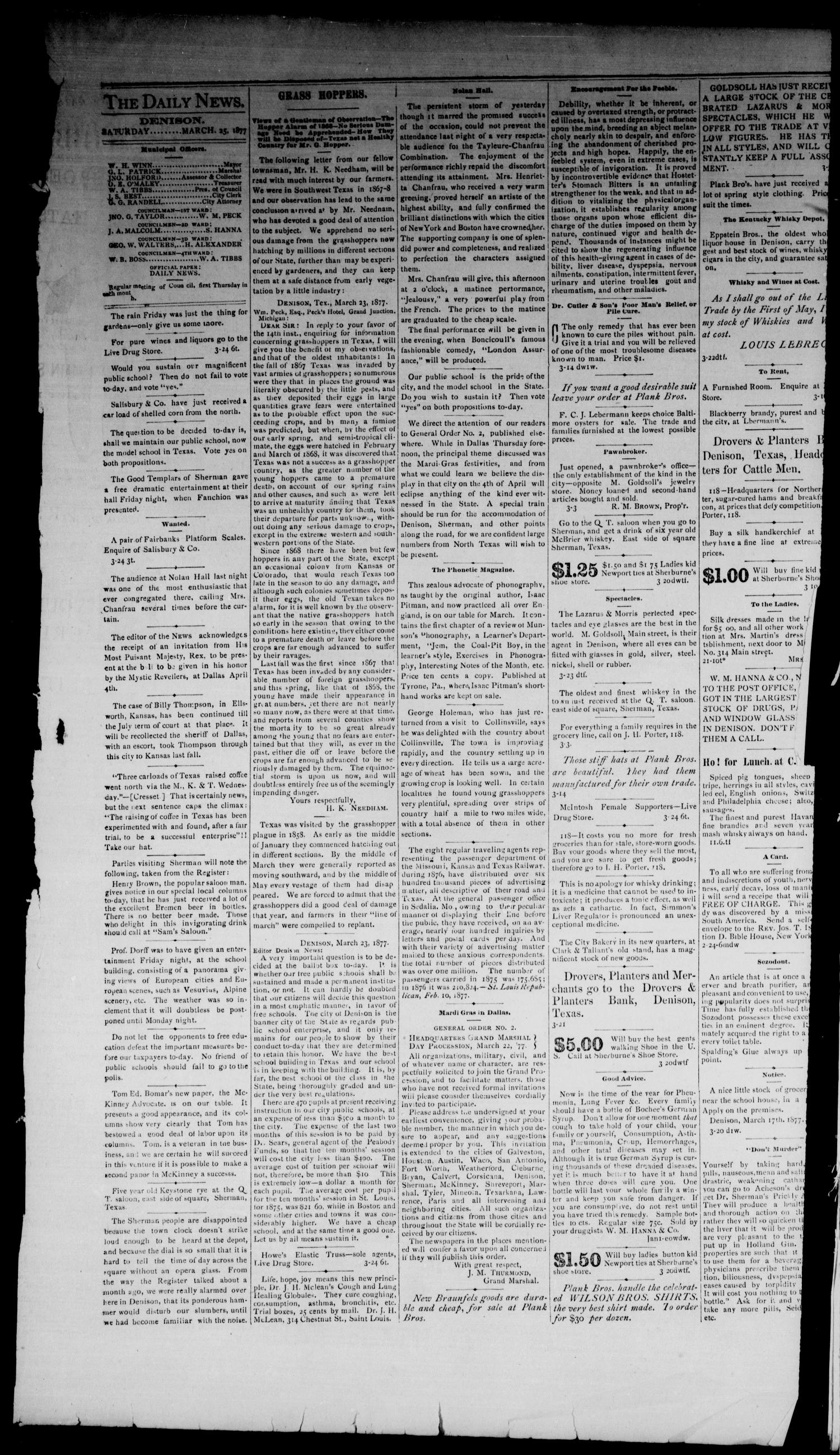 Denison Daily News. (Denison, Tex.), Vol. 5, No. 27, Ed. 1 Saturday, March 24, 1877                                                                                                      [Sequence #]: 4 of 4