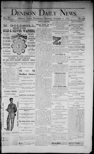 Primary view of object titled 'Denison Daily News. (Denison, Tex.), Vol. 4, No. 198, Ed. 1 Wednesday, October 11, 1876'.