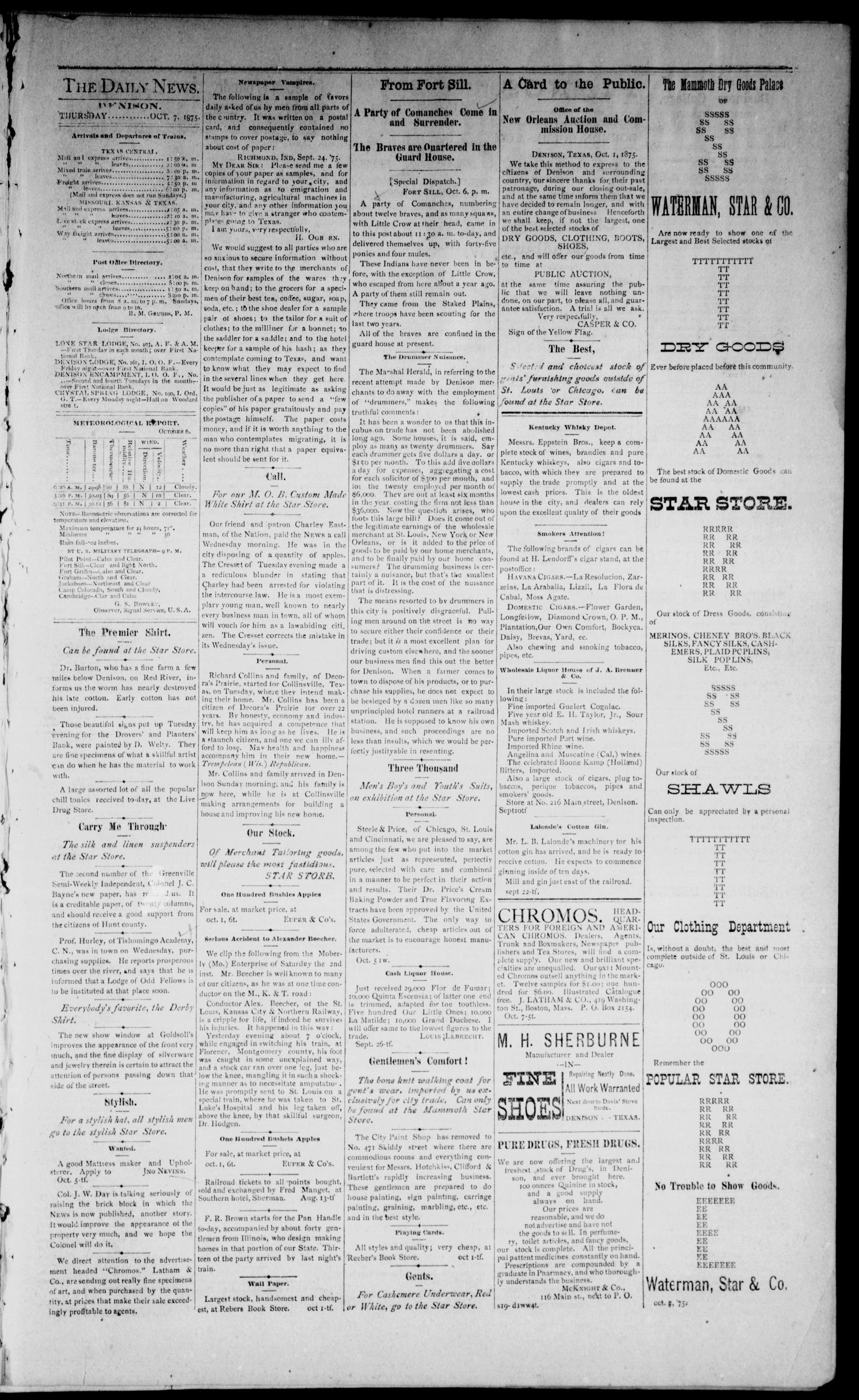 Denison Daily News. (Denison, Tex.), Vol. 3, No. 146, Ed. 1 Thursday, October 7, 1875                                                                                                      [Sequence #]: 3 of 4