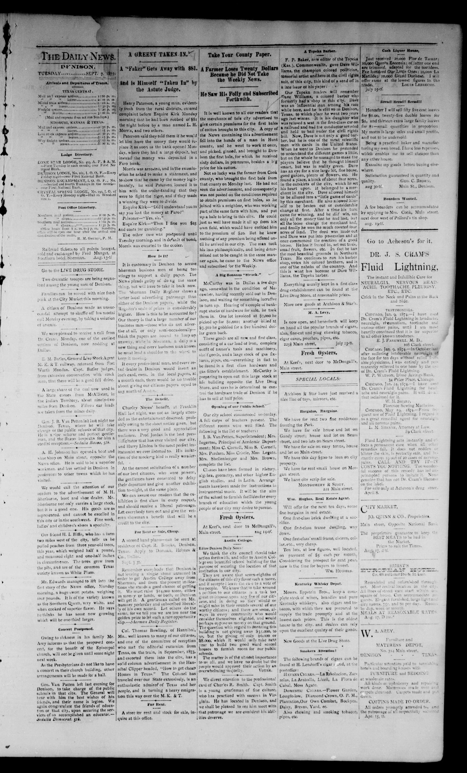 Denison Daily News. (Denison, Tex.), Vol. 3, No. 165, Ed. 1 Tuesday, September 7, 1875                                                                                                      [Sequence #]: 3 of 4