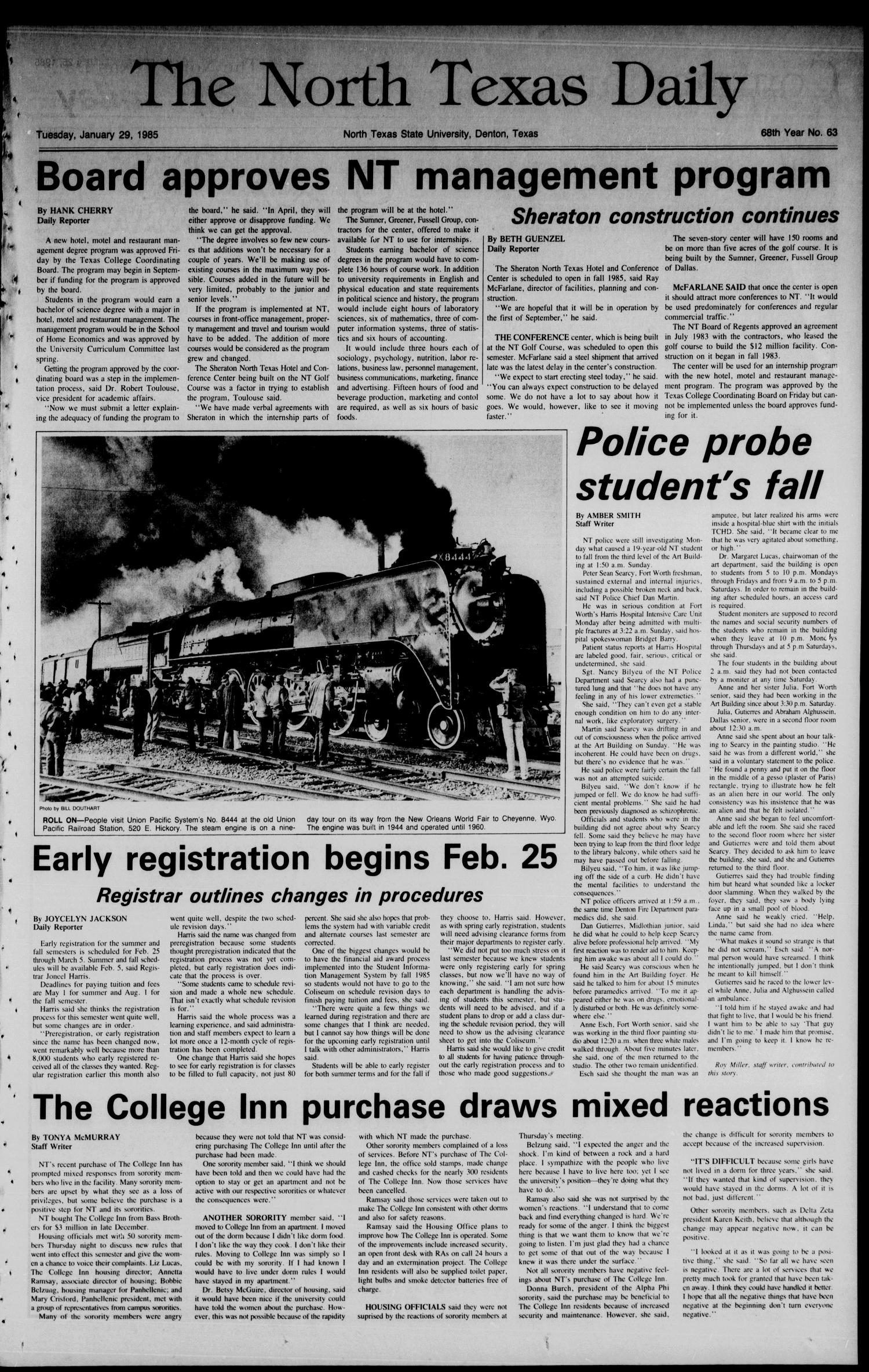 The North Texas Daily (Denton, Tex.), Vol. 68, No. 63, Ed. 1 Tuesday, January 29, 1985                                                                                                      [Sequence #]: 1 of 8