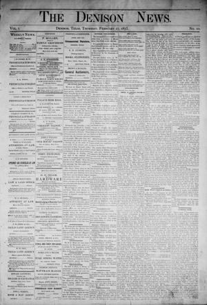 Primary view of object titled 'The Denison News. (Denison, Tex.), Vol. 1, No. 10, Ed. 1 Thursday, February 27, 1873'.
