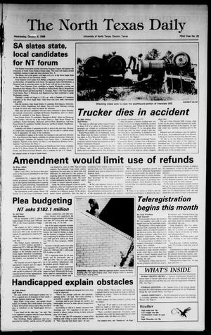 Primary view of object titled 'The North Texas Daily (Denton, Tex.), Vol. 72, No. 22, Ed. 1 Wednesday, October 5, 1988'.