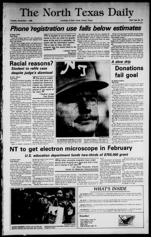 Primary view of object titled 'The North Texas Daily (Denton, Tex.), Vol. 72, No. 37, Ed. 1 Tuesday, November 1, 1988'.