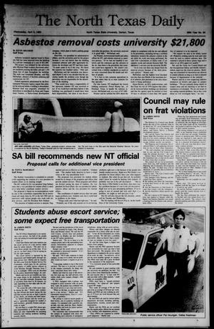 Primary view of object titled 'The North Texas Daily (Denton, Tex.), Vol. 68, No. 94, Ed. 1 Wednesday, April 3, 1985'.
