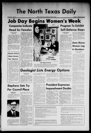 Primary view of object titled 'The North Texas Daily (Denton, Tex.), Vol. 57, No. 78, Ed. 1 Tuesday, February 26, 1974'.