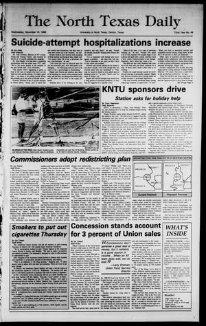 Primary view of object titled 'The North Texas Daily (Denton, Tex.), Vol. 72, No. 46, Ed. 1 Wednesday, November 16, 1988'.