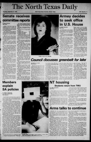 Primary view of The North Texas Daily (Denton, Tex.), Vol. 67, No. 11, Ed. 1 Thursday, September 15, 1983