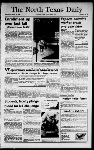 Primary view of object titled 'The North Texas Daily (Denton, Tex.), Vol. 72, No. 30, Ed. 1 Wednesday, October 19, 1988'.