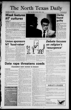 Primary view of object titled 'The North Texas Daily (Denton, Tex.), Vol. 71, No. 96, Ed. 1 Wednesday, April 6, 1988'.