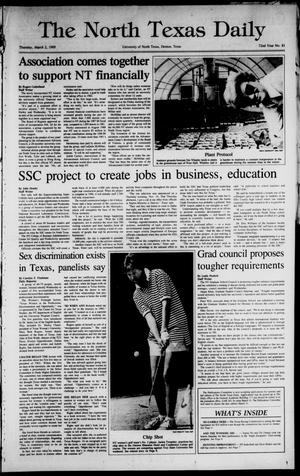 Primary view of object titled 'The North Texas Daily (Denton, Tex.), Vol. 72, No. 81, Ed. 1 Thursday, March 2, 1989'.