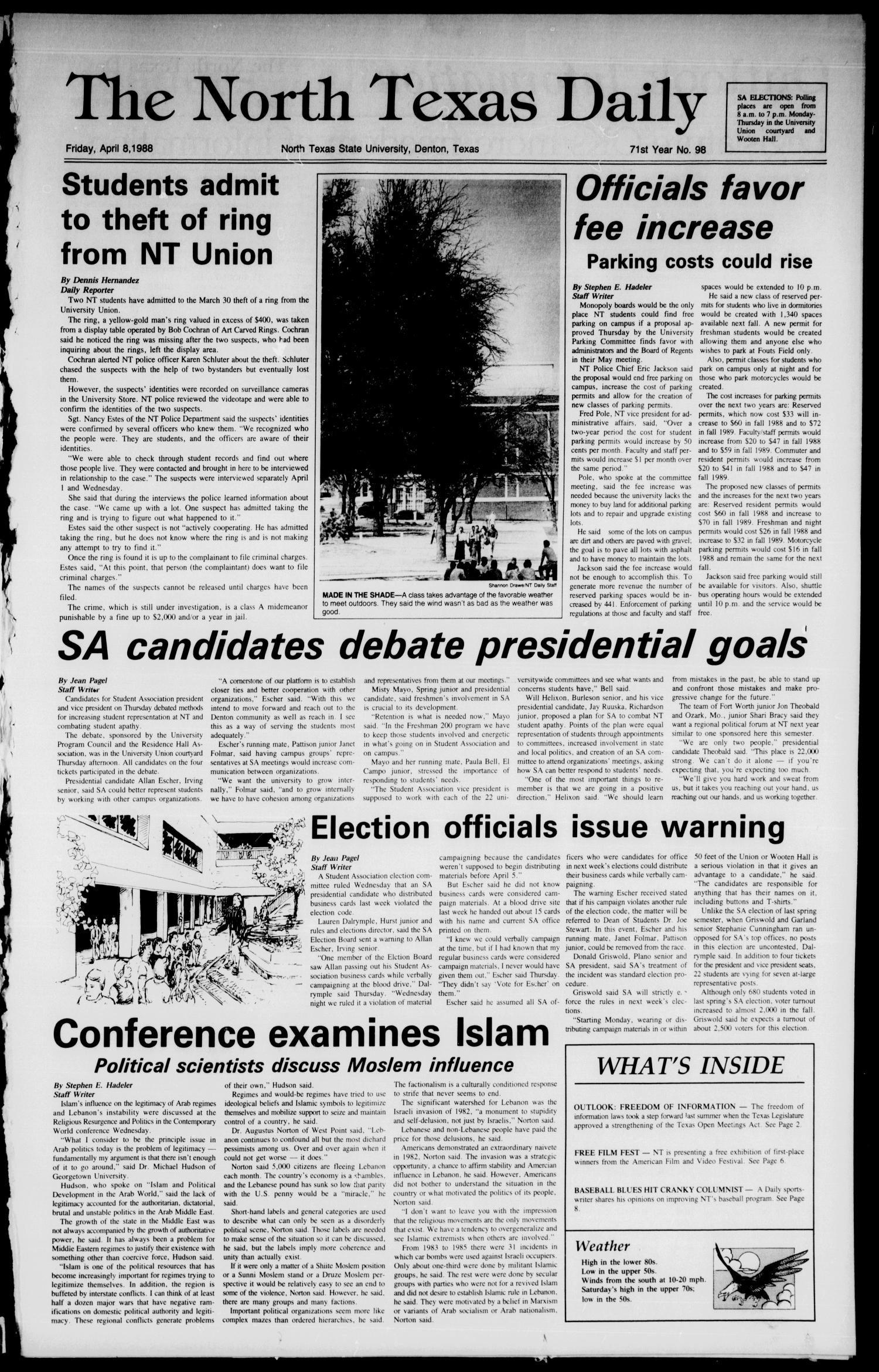 The North Texas Daily (Denton, Tex.), Vol. 71, No. 98, Ed. 1 Friday, April 8, 1988                                                                                                      [Sequence #]: 1 of 8