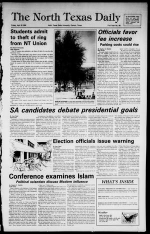 Primary view of object titled 'The North Texas Daily (Denton, Tex.), Vol. 71, No. 98, Ed. 1 Friday, April 8, 1988'.
