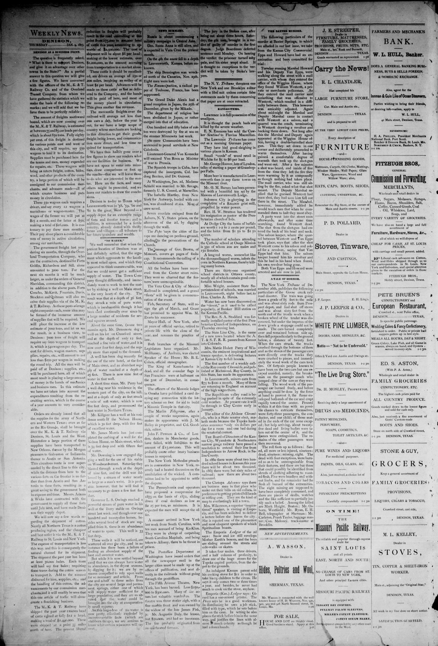 The Denison News. (Denison, Tex.), Vol. 1, No. 3, Ed. 1 Thursday, January 9, 1873                                                                                                      [Sequence #]: 2 of 4