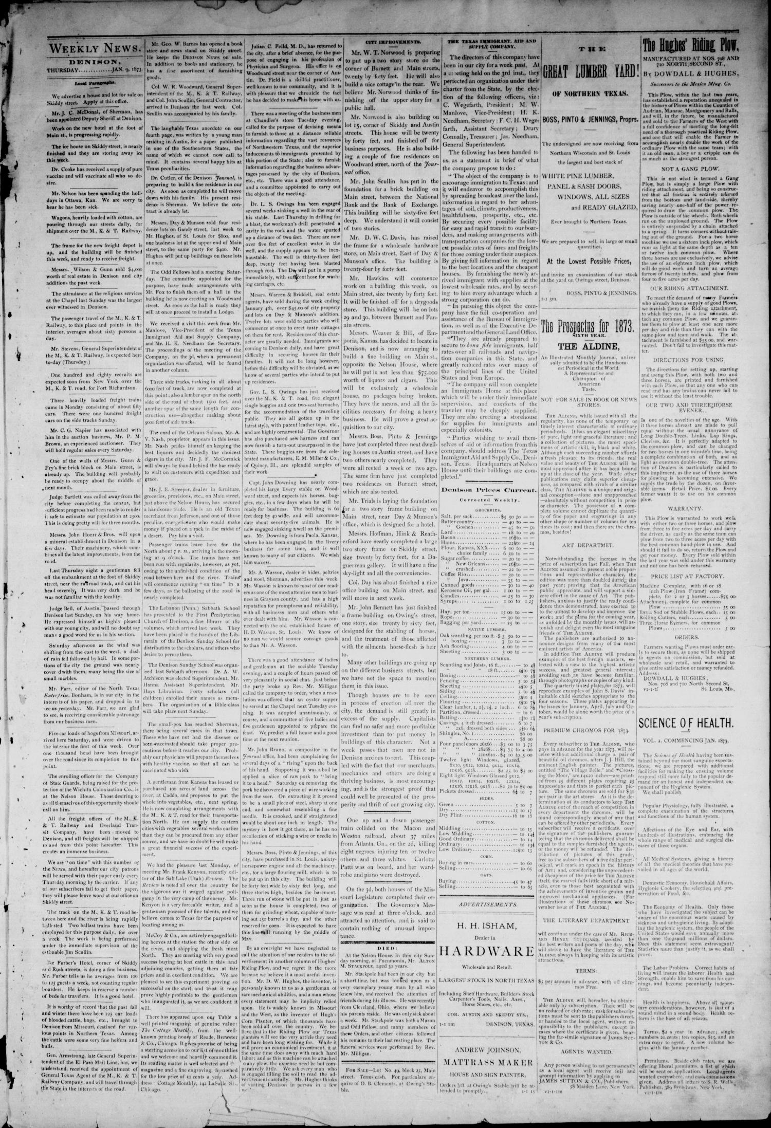 The Denison News. (Denison, Tex.), Vol. 1, No. 3, Ed. 1 Thursday, January 9, 1873                                                                                                      [Sequence #]: 3 of 4