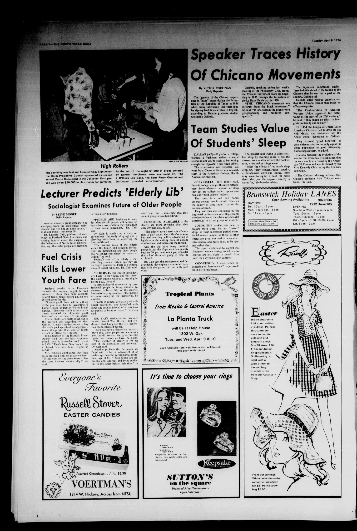 The North Texas Daily (Denton, Tex.), Vol. 57, No. 98, Ed. 1 Tuesday, April 9, 1974                                                                                                      [Sequence #]: 4 of 6