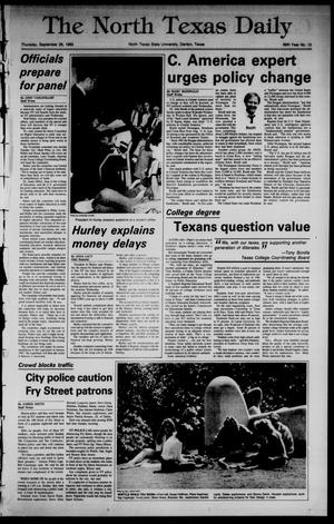 Primary view of object titled 'The North Texas Daily (Denton, Tex.), Vol. 69, No. 15, Ed. 1 Thursday, September 26, 1985'.
