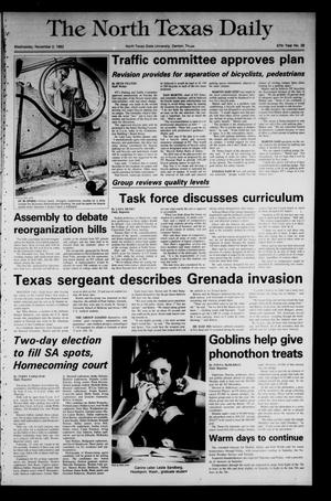 Primary view of object titled 'The North Texas Daily (Denton, Tex.), Vol. 67, No. 38, Ed. 1 Wednesday, November 2, 1983'.