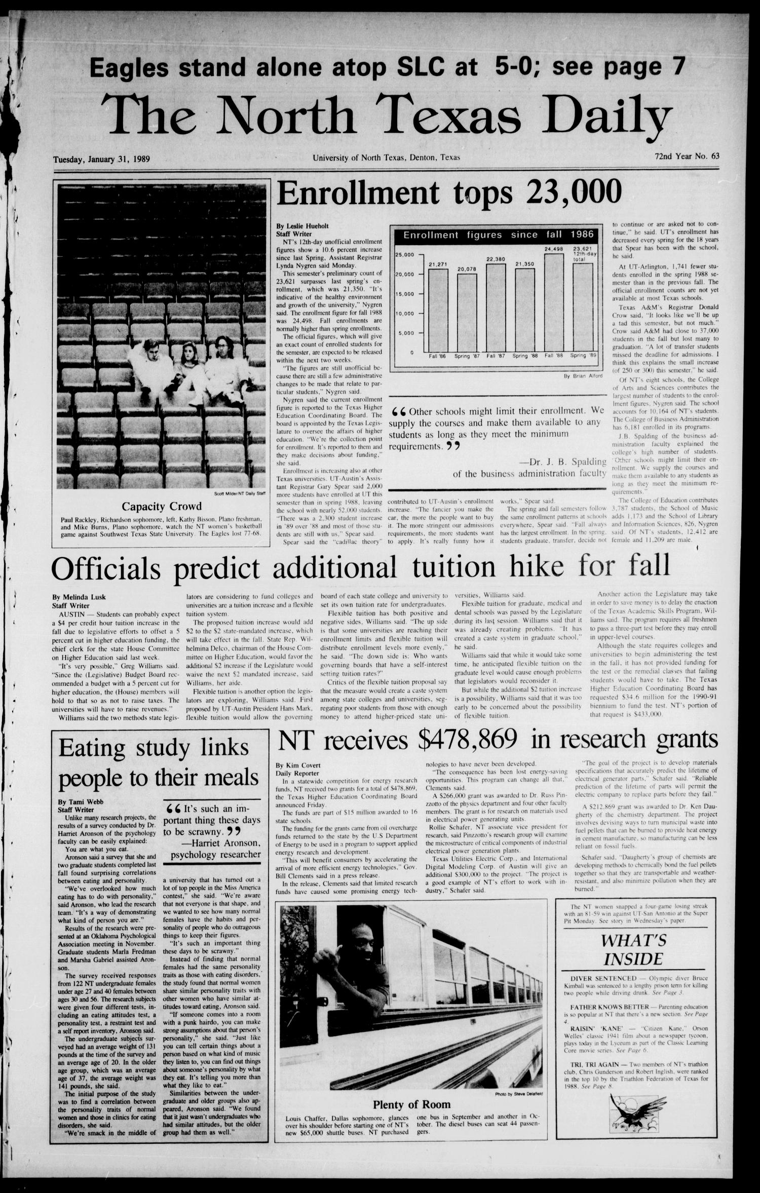 The North Texas Daily (Denton, Tex.), Vol. 72, No. 63, Ed. 1 Tuesday, January 31, 1989                                                                                                      [Sequence #]: 1 of 8
