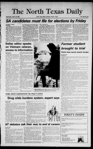 Primary view of object titled 'The North Texas Daily (Denton, Tex.), Vol. 71, No. 92, Ed. 1 Wednesday, March 30, 1988'.