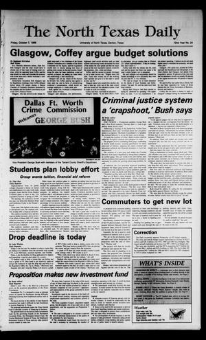 Primary view of object titled 'The North Texas Daily (Denton, Tex.), Vol. 72, No. 24, Ed. 1 Friday, October 7, 1988'.