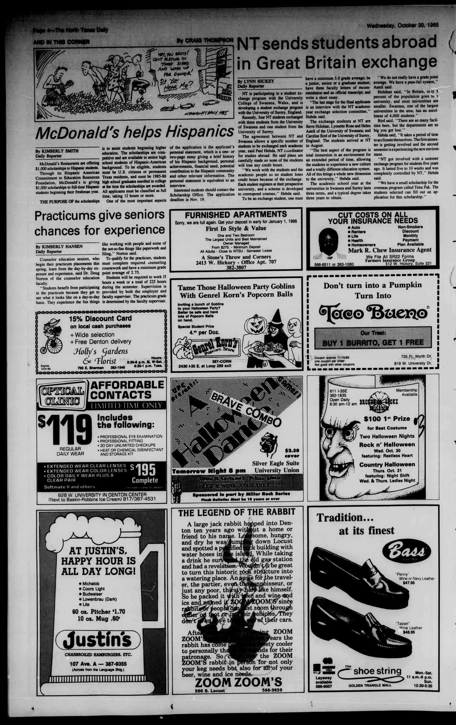 The North Texas Daily (Denton, Tex.), Vol. 69, No. 34, Ed. 1 Wednesday, October 30, 1985                                                                                                      [Sequence #]: 4 of 8