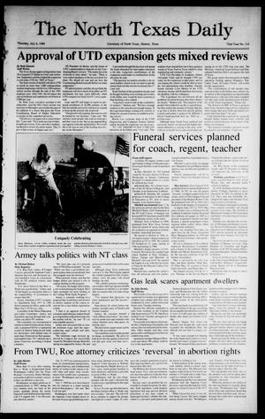 Primary view of object titled 'The North Texas Daily (Denton, Tex.), Vol. 72, No. 114, Ed. 1 Thursday, July 6, 1989'.