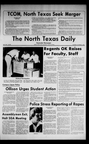 Primary view of object titled 'The North Texas Daily (Denton, Tex.), Vol. 58, No. 35, Ed. 1 Thursday, October 31, 1974'.