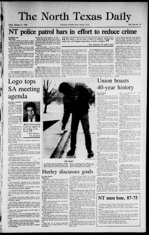 Primary view of object titled 'The North Texas Daily (Denton, Tex.), Vol. 72, No. 74, Ed. 1 Friday, February 17, 1989'.