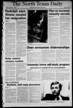 Primary view of object titled 'The North Texas Daily (Denton, Tex.), Vol. 67, No. 3, Ed. 1 Thursday, September 1, 1983'.