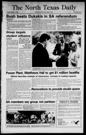 Primary view of object titled 'The North Texas Daily (Denton, Tex.), Vol. 72, No. 21, Ed. 1 Tuesday, October 4, 1988'.