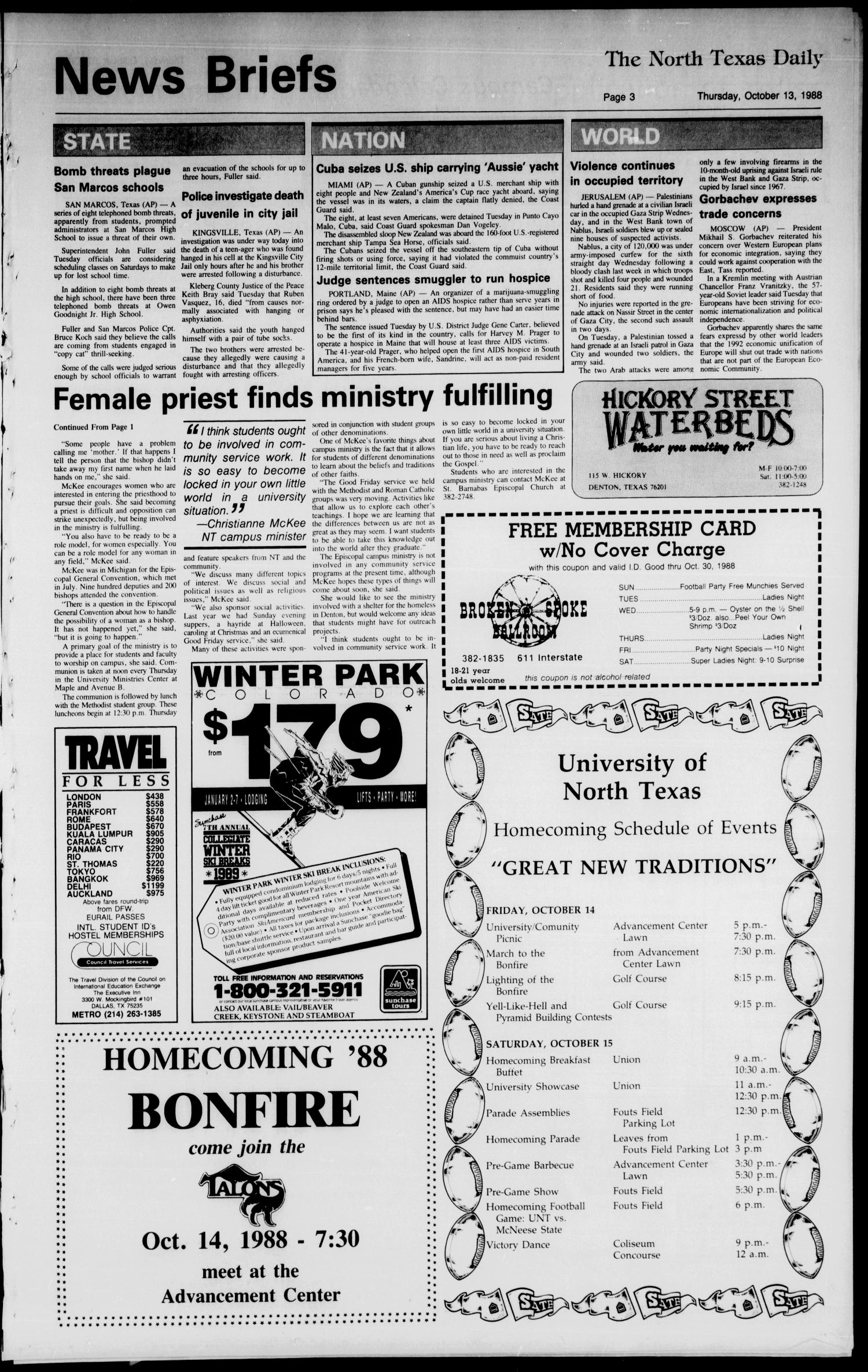 The North Texas Daily (Denton, Tex.), Vol. 72, No. 27, Ed. 1 Thursday, October 13, 1988                                                                                                      [Sequence #]: 3 of 8