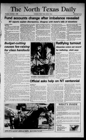 Primary view of object titled 'The North Texas Daily (Denton, Tex.), Vol. 72, No. 39, Ed. 1 Thursday, November 3, 1988'.