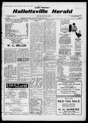 Primary view of object titled 'Semi-weekly Hallettsville Herald (Hallettsville, Tex.), Vol. 54, No. 43, Ed. 1 Friday, November 5, 1926'.