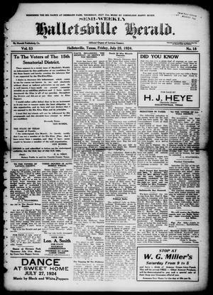 Primary view of object titled 'Semi-weekly Halletsville Herald. (Hallettsville, Tex.), Vol. 53, No. 18, Ed. 1 Friday, July 25, 1924'.