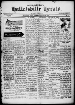 Primary view of object titled 'Semi-weekly Halletsville Herald. (Hallettsville, Tex.), Vol. 52, No. 71, Ed. 1 Tuesday, January 29, 1924'.