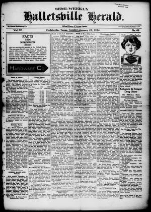 Primary view of object titled 'Semi-weekly Halletsville Herald. (Hallettsville, Tex.), Vol. 52, No. 69, Ed. 1 Tuesday, January 22, 1924'.