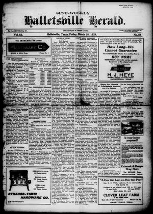 Primary view of object titled 'Semi-weekly Halletsville Herald. (Hallettsville, Tex.), Vol. 52, No. 88, Ed. 1 Friday, March 28, 1924'.